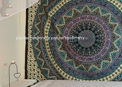 - Popular Handicrafts Mandala Tapestry Hippie Hippy Wall Hanging Throw Bedspread Dorm Tapestry Elephant Tapestries Decorative Wall Hanging Picnic Beach Sheet Coverlet 84x90 Inches