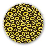 Uneekee Sunflowers on Fabric Lazy Susan: Large, Dark Wooden Turntable Kitchen Storage