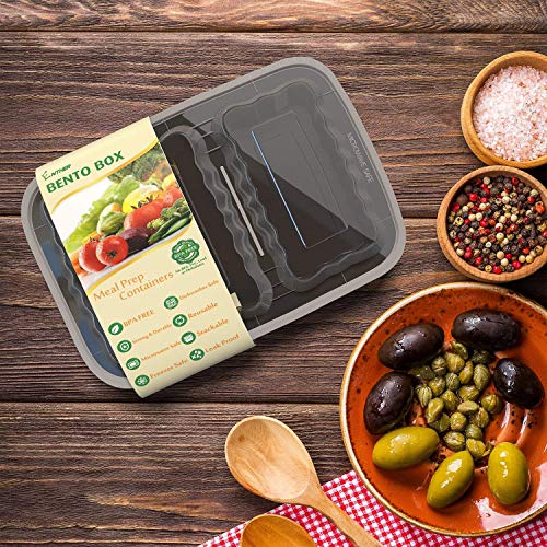 Enther Meal Prep Containers [20 Pack] 2 Compartment with Lids, Food Storage Bento Box | BPA Free | Stackable | Reusable Lunch Boxes, Microwave/Dishwasher/Freezer Safe,Portion Control (32 oz) by Enther (Image #6)