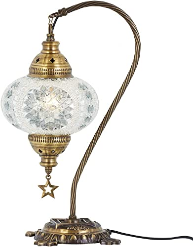 DEMMEX Turkish Moroccan Mosaic Table Lamp with US Plug Socket, Swan Neck Handmade Desk Bedside Table Night Lamp, Decorative Tiffany Lamp Light, 19