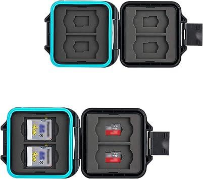 JJC Estuche Impermeable para tarjetas de memorias: 4 x tarjetas Micro SD SDHC SDXC + 4 x tarjetas SD SDHC SDXC con Acollador y Mosquetón: Amazon.es: Electrónica