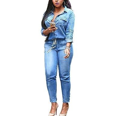53199e1c3d77 YYF Women s Denim Plus Size Bodycon Lace-up Jumpsuit Deep V Neck Long  Sleeve Elastic