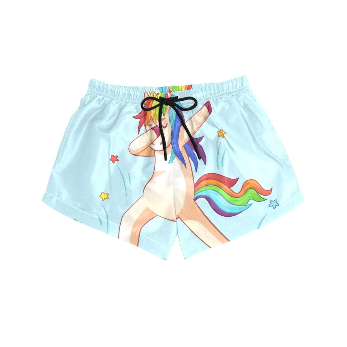 FORMRS Womens Swim Dabbing Unicorn Board Shorts Bottom Beach Short Trunk Swimwear with Drawstring