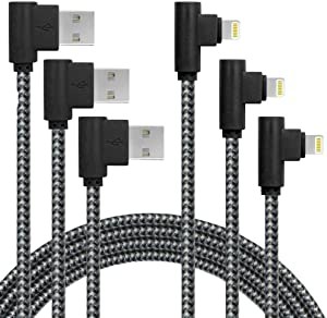 90 Degree Right Angle iPhone Charger Cable MFI Certified Lightning Cable 3Pack 6FT Certified Nylon Braided USB Cord iPhone 12/11/Pro/Max/X/XS/XR/XS/8/7/Plus/6/6S/SE-BlackGrey