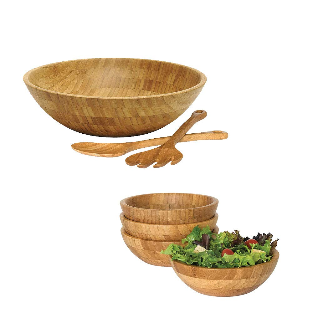 Lipper International Bamboo Large Wooden Bowl, 4 Small Bowls & Servers Salad Set Lipper International Inc.