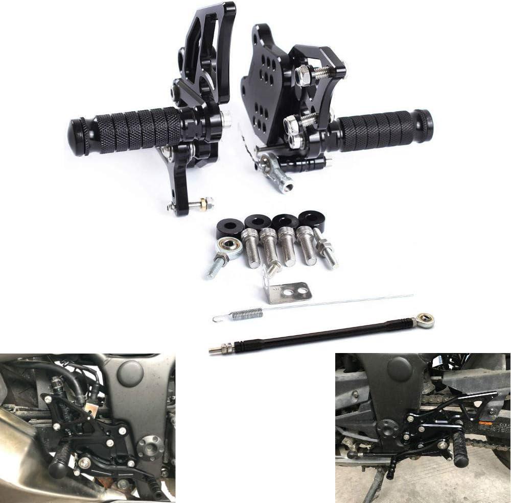MZS Rearsets Footrests Footpegs CNC Adjustable Rear Sets compatible Kawasaki Ninja 300 300R EX300/ Ninja 250 250 EX250 2013 2014 2015 2016 2017 Black