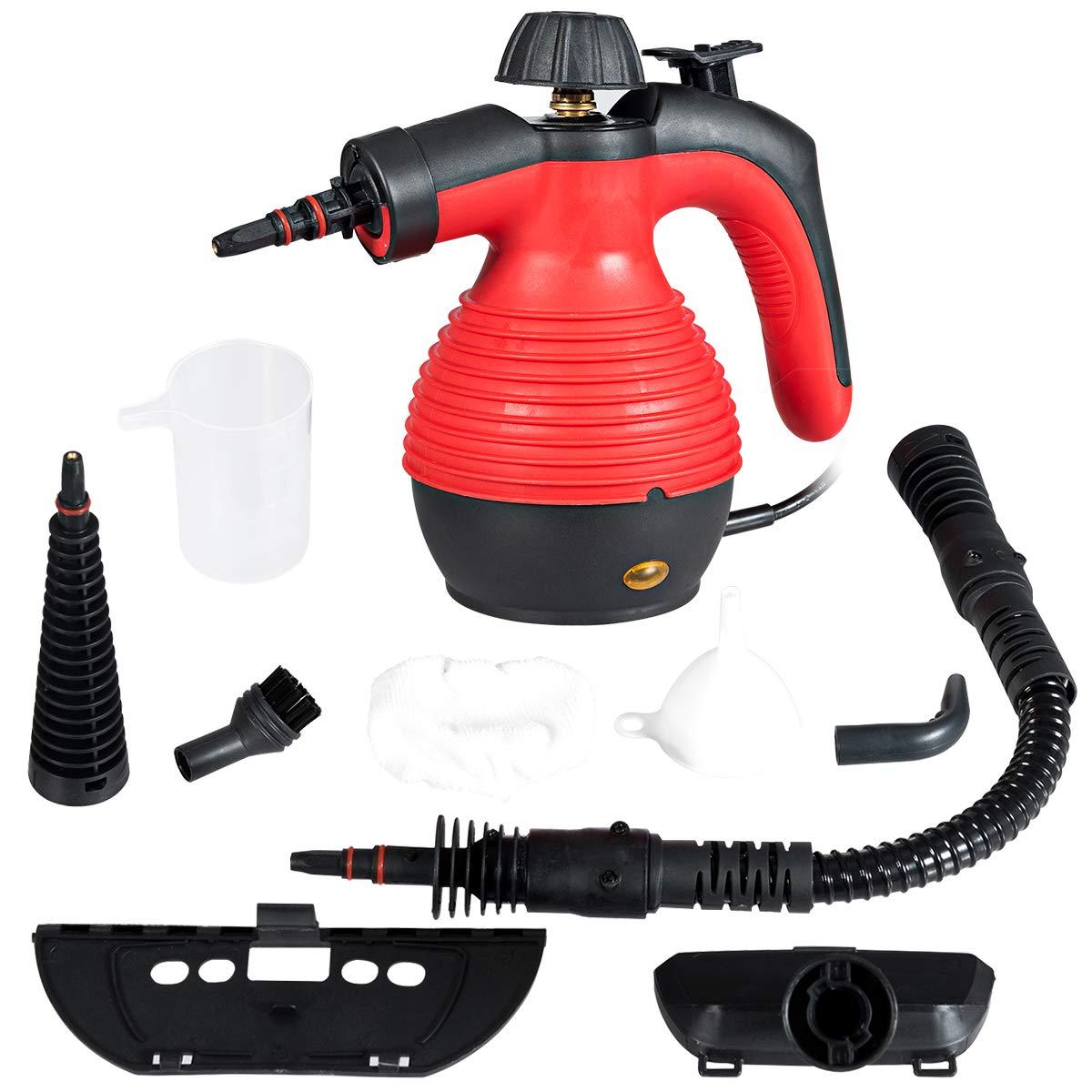 Goplus Handheld Pressurized Steam Cleaner, Multi-Purpose Steamer, Steam Iron, 1050W, W/Attachments (Red) by Goplus
