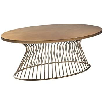 Mid Century Modern Golden Bronze Oval Cocktail Coffee Table With Metal Wire  Frame Base   Includes