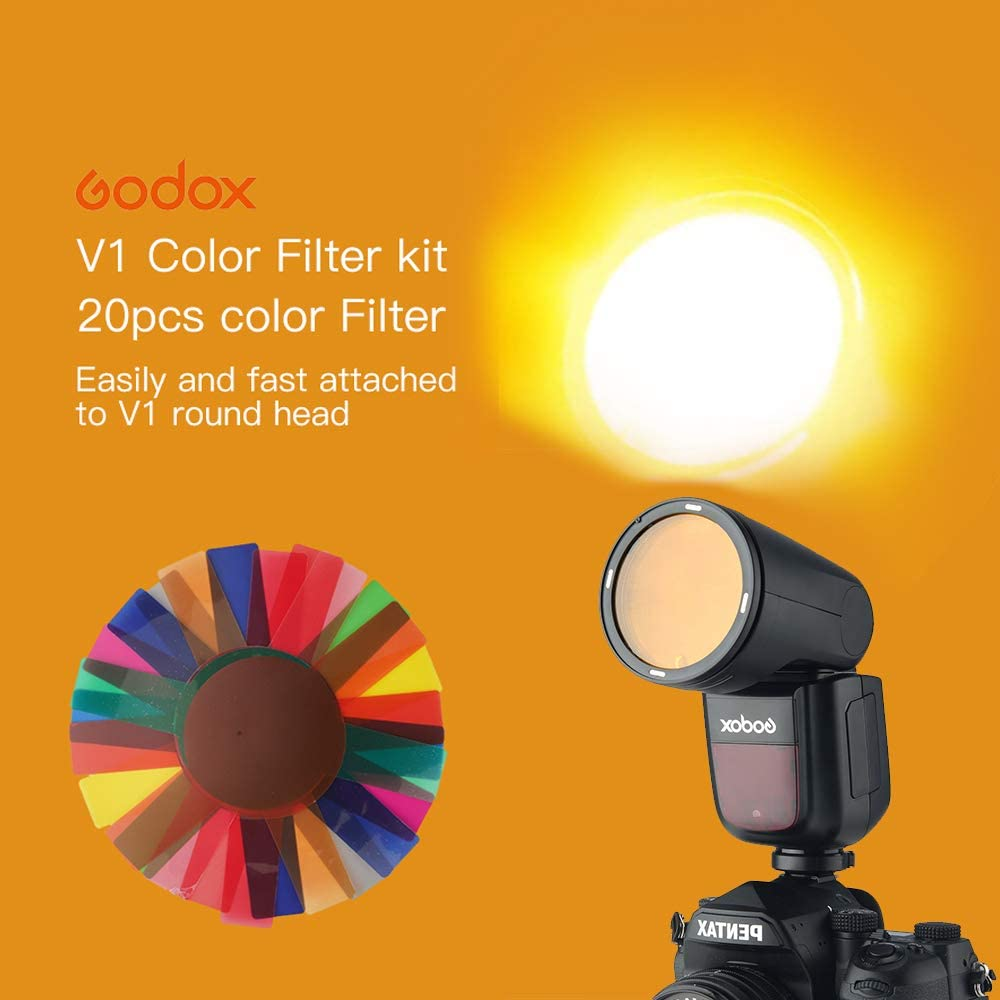 Godox Color Filters Kit 20pcs for Godox Round Head Camera Flash V1 Series
