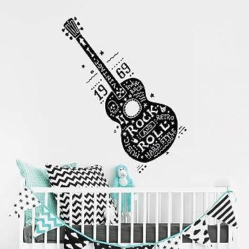 pegatina de pared 3d Rock and roll guitarra Música Retro Duro ...