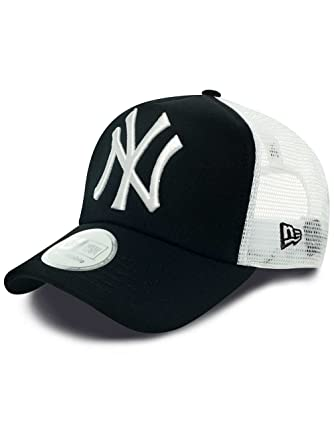 62d1f4240 New Era Men's MLB Trucker NY Yankees Baseball Cap, Black, One Size ...