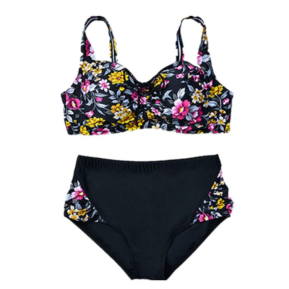 女性の 水着 スパ水着 保守的な 分割 三角ビキニ に適して 水泳 ウェディング エクササイズ スパ (Color : Black, Size : 8XL) B07DZQFTZB
