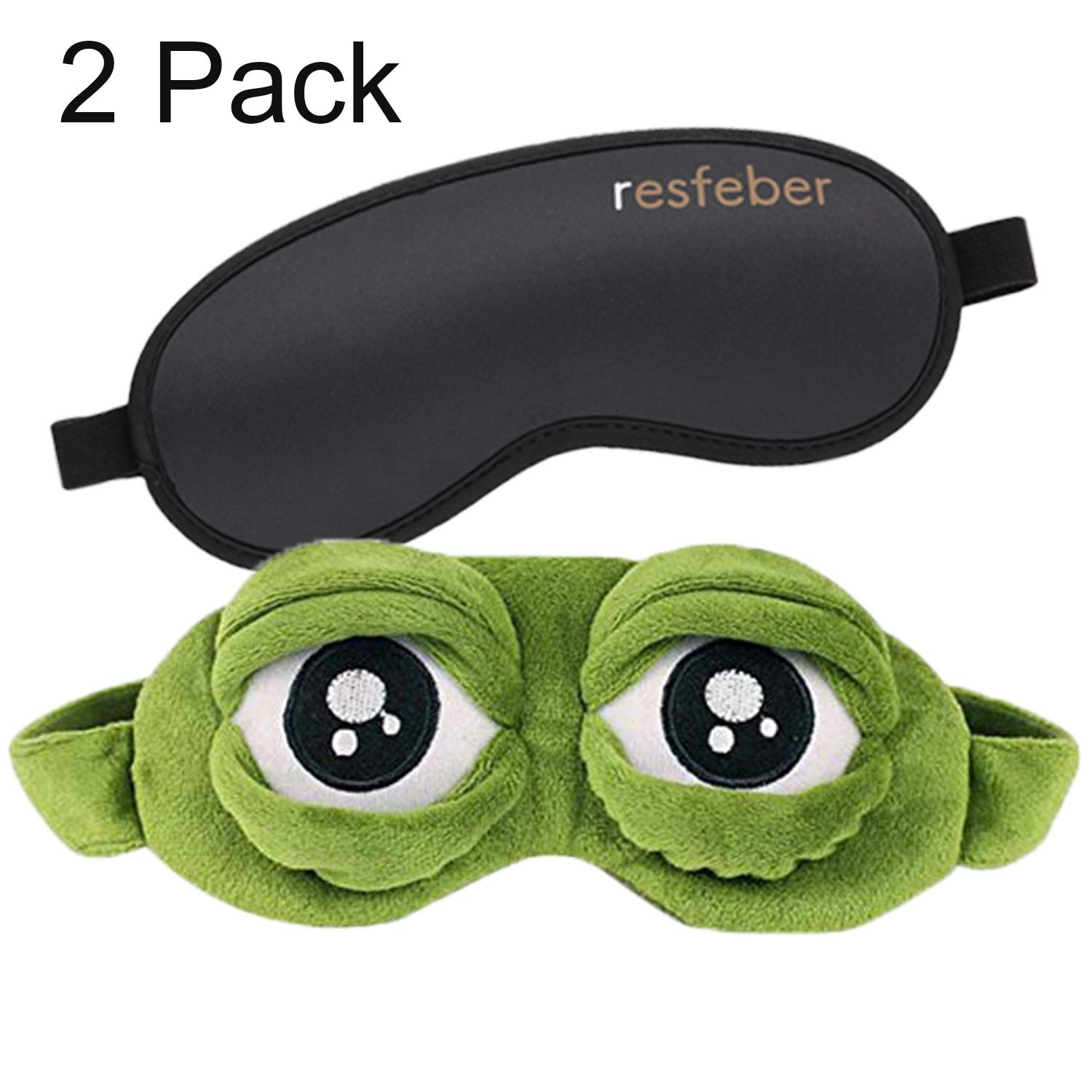 Sleep Mask, Blindfold Eye Mask with Adjustable Head Strap for Sleeping, Travel, Naps (Green) by Resfeber (Image #1)