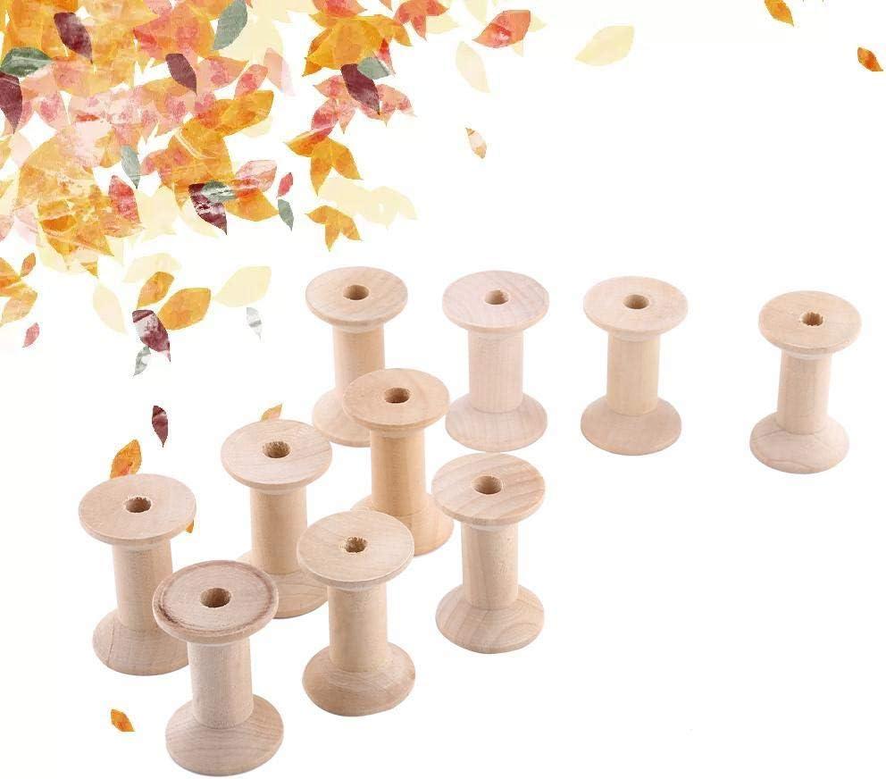 10 piezas de carretes de madera sin terminar carretes de barril de hilo vac/ío Color de madera natural 47 mm x 31 mm