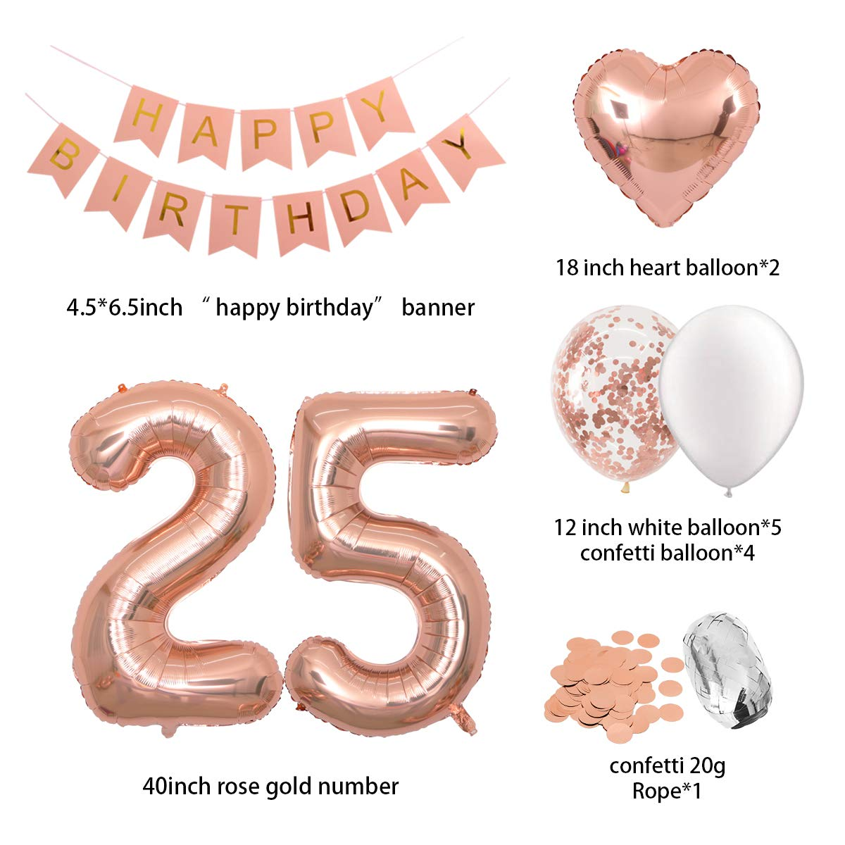 Birthday Decorations Happy Birthday Banner 40inch Rose Gold Number 25 Balloons Rose Gold Confetti Balloons 1 in Diameter Heart Confetti for 25th Birthday Party Supplies Photo Props Rose Gold 25