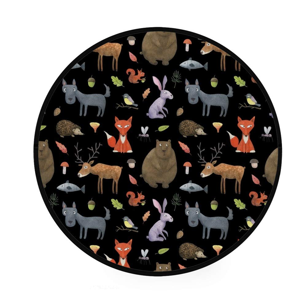 leggero motivo: animali della foresta per soggiorno e camera da letto tappetino da yoga Orediy per cameretta dei bambini 92 cm Tappeto rotondo morbido in schiuma