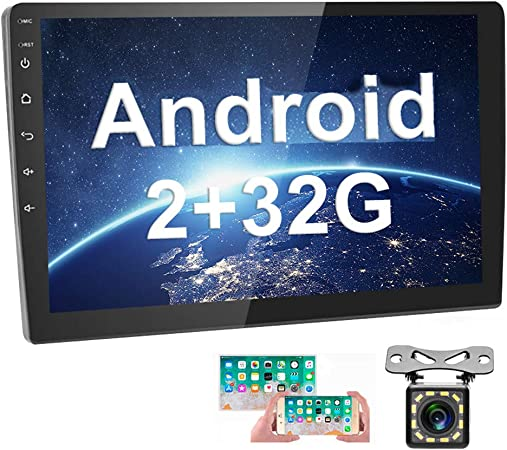 12 LEDs Backup Camera Hikity Double Din Single Din Android Car Stereo with Bluetooth 10.1 Inch Touch Screen FM Radio Support GPS Navigation WiFi Connect Mirror Link for Android iOS Phone