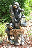 Ebros Climbing Black Bear Cubs Garden Light Statue Figurine Solar LED Lantern Light Welcome Sign Guest Greeter Decor For Patio Poolside Garden Home