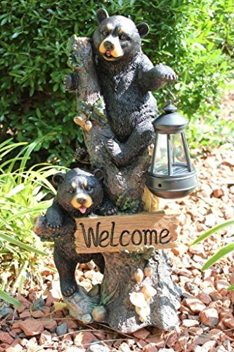 Ebros Climbing Black Bear Cubs Garden Light Statue Figurine Solar LED Lantern Light Welcome Sign Guest Greeter Decor For Patio Poolside Garden (Bear Welcome Statue)
