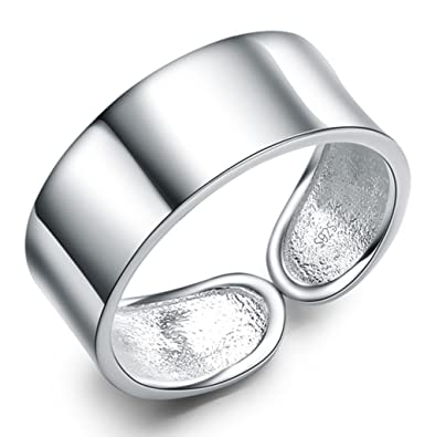 Infinite U 925 Sterling Silver Simple Style Band Thumb Ring Adjustable Size N to T for Women/Girls UCI6sgnN
