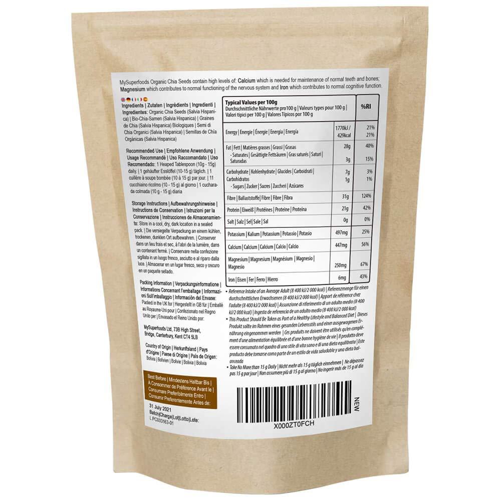 Organic Chia Seeds (500 Gram), MySuperFoods, Bursting with ...