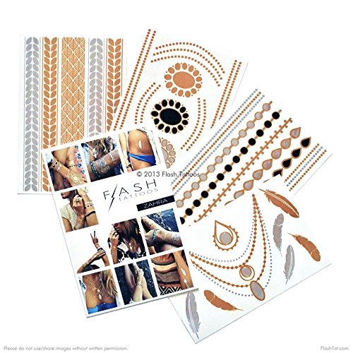 BEACH BLING BUNDLE includes Flash Tattoos topical-inspired Beach Queen Variety Set (25 tats) and Zarha 4-sheet pack by Flash Tattoos (Image #3)
