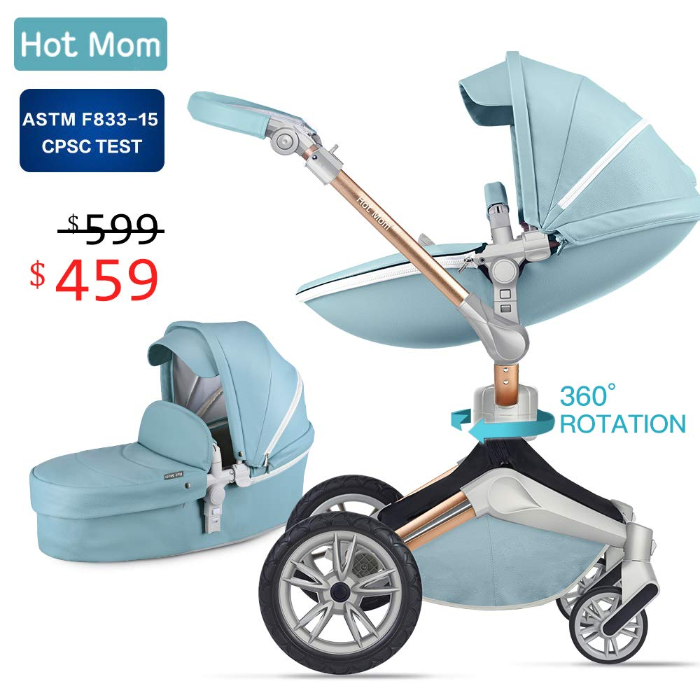 Baby Stroller 360 Rotation Function,Hot Mom Travel System Pram (Grey) Hot Mom baby products co. ltd F023-Grey