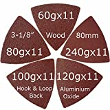 #5: XXGO 55 Pcs Triangle 3-1/8 Inch 60/80 / 100/120 / 240 Grits Hook & Loop Oscillating Tool Sandpaper for Wood Sanding Contains 11 of Each Fit 3-1/8 Inch Triangular Oscillating Multi Tool Sanding Pad