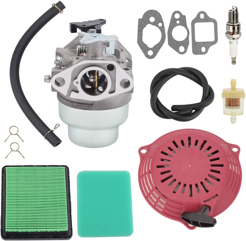 Highmoor GCV160 Carburetor Carb + Tune Up Kit Air Filter Recoil Starter for Honda GCV160A GCV160LA GCV160LE Engine Parts HRB216 HRR216 HRS216 HRT216 HRZ216 Lawn Mower