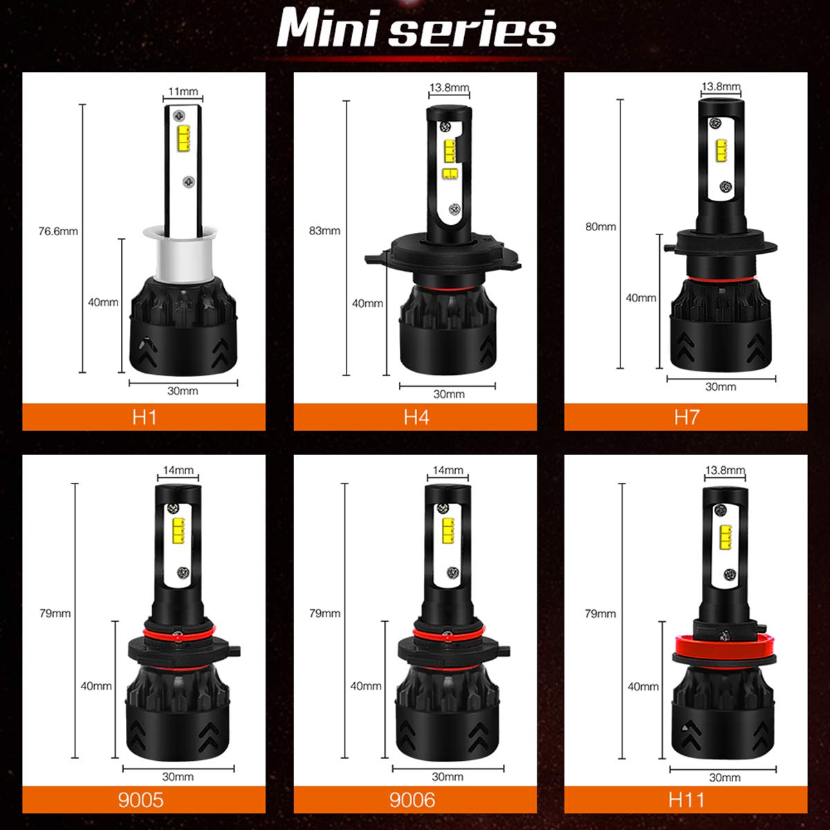 SMX H1 Upgraded All-in-one Conversion Kit 9600lm Cool Light-2 Year Warranty LED Headlight Bulbs 6000K Adjustable Beam