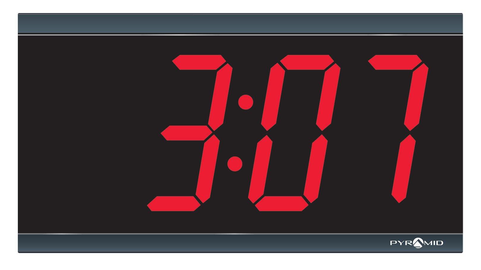 "Pyramid 4"" Character, 4-Digit Red LED RF Wireless Digital Clock, 110V (9D44BR)"
