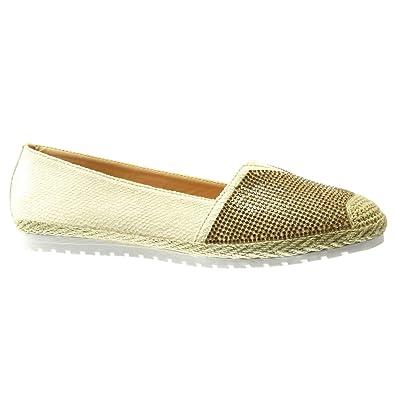 Angkorly Zapatillas Moda Alpargatas Mocasines Slip-On Suela de Zapatillas Mujer Piel de Serpiente Strass Cuerda Tacón Plano 0 cm: Amazon.es: Zapatos y ...