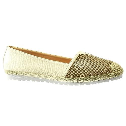 Angkorly - Zapatillas Moda Alpargatas Mocasines Slip-on Suela de Zapatillas Mujer Piel de Serpiente Strass Cuerda tacón Plano 0 CM: Amazon.es: Zapatos y ...