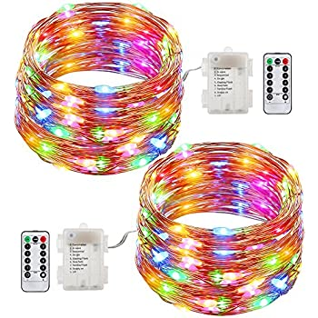 GDEALER 2 Pack Fairy Lights Battery Operated String Lights Waterproof 8  Modes 60 LED 20ft Fairy