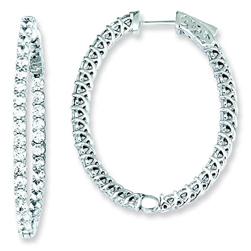 Sterling Silver Cz Oval Hoop Earrings