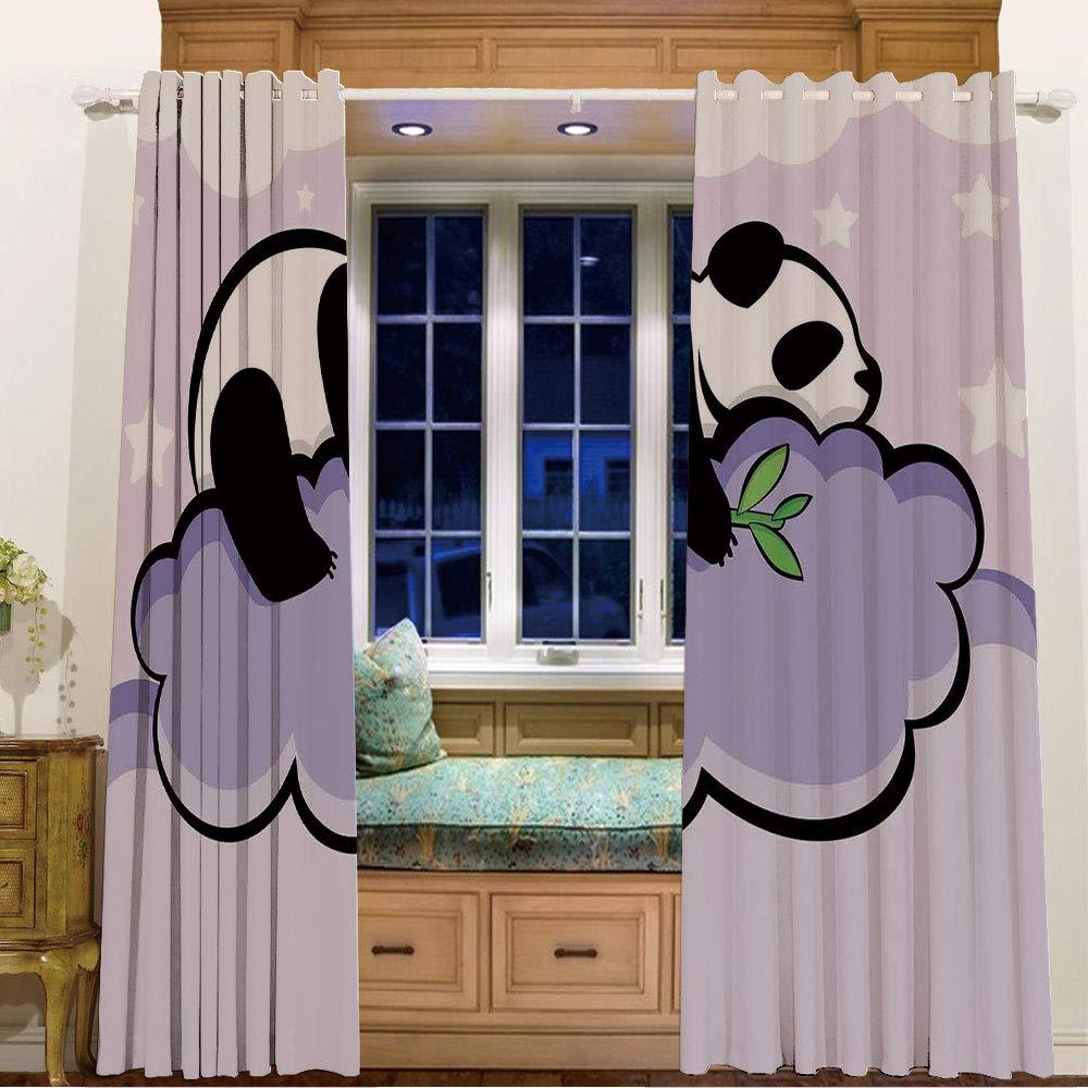 部屋を暗くする断熱遮光ハトメ付きウィンドウカーテン リビングルーム用 幅58インチ x 長さ36インチ パンダ コアラ 木に座るパンダ 野生動物のトロピック ハビタット 森のイラスト ベージュ ブラック 84