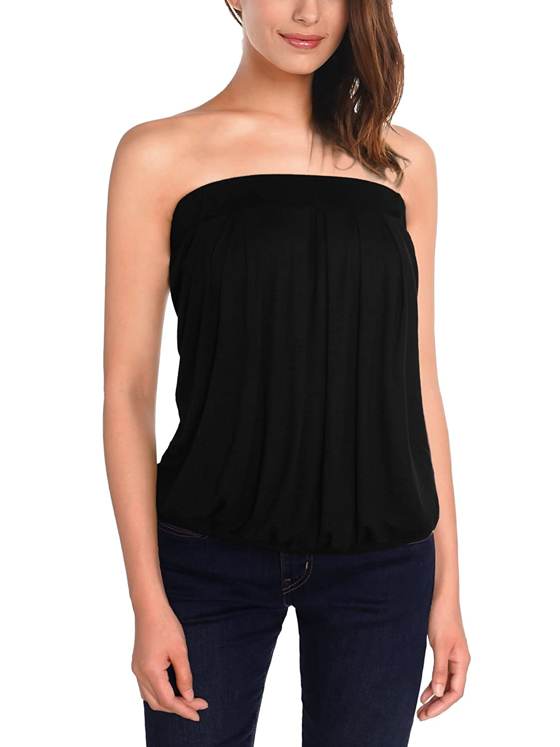 63be69aea6 DJT Womens Printed Sleeveless Stretchy Pleated Tube Top  Amazon.ca   Clothing   Accessories