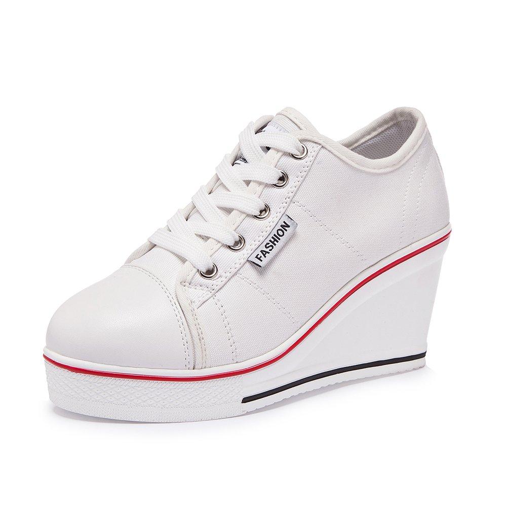 White Sokaly Women's Canvas shoes Wedge Heeled Platform Sneaker Fashion Pump shoes