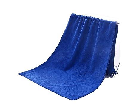 FERFERFERWON Suministros de baño Toalla Absorbente Absorbente de la Toalla del Pelo seco de la Peluca del Color sólido Adulto de la peluquería (Azul) Toalla ...