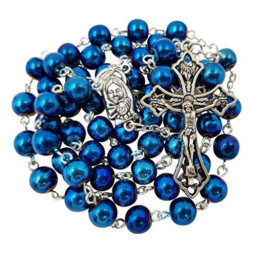 Hematite Crucifix Silver (Talisman4U 8mm Blue Hematite Beads Catholic Rosary Necklace Virgin Mary Medal Cross Crucifix in Gift Box)