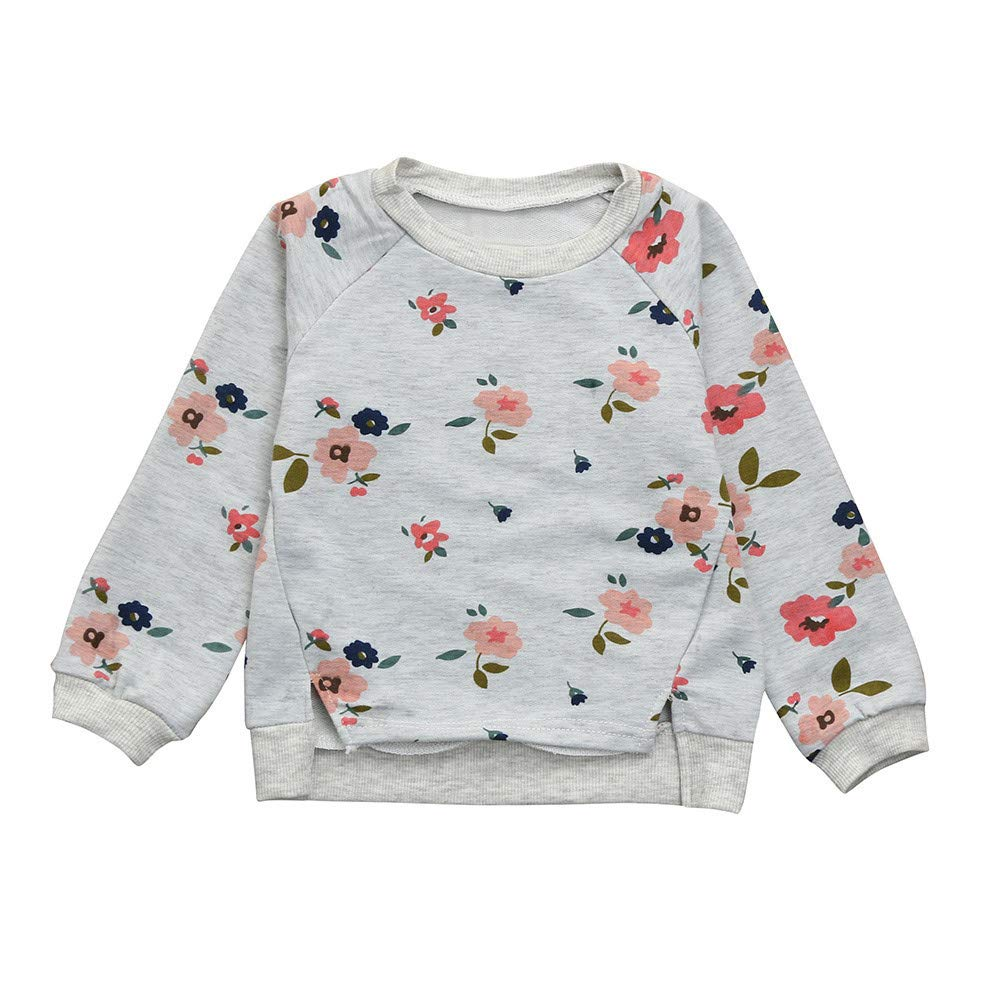 6cb47d5902f9 Amazon.com  SUNBIBE👻Kids Toddler Baby Girl Floral Print Sweatshirt ...