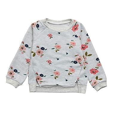 fd76124b4b89e MOIKA Enfants Hauts Enfant Enfants Bébé Filles Floral Impression À Manches  Longue T-Shirt Blouses O Cou Pull Sweat Vêtements Chauds pour 2-7 Ans Enfant  ...