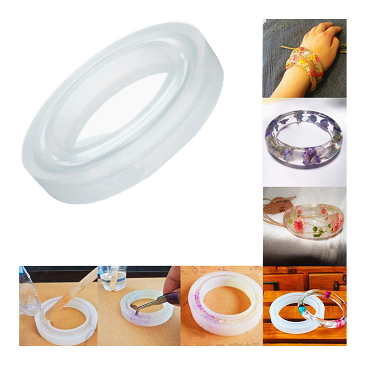 ECYC 1pcs Silicone Bracelet Casting Mould For DIY Resin Bangle Bracelet Jewelry Making Tools