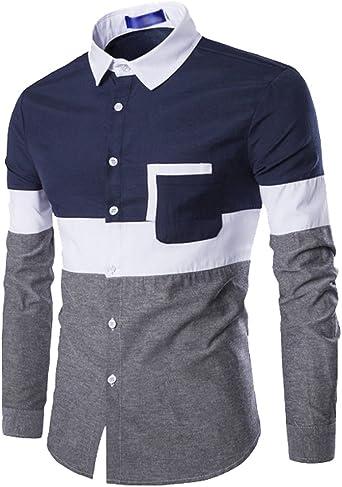 ISSHE Camisas Slim Fit Hombre Camisa Traje Básica Cuello Clásico Camisas de Vestir Formal Caballero Camisas Vestidos Entalladas Casuales para Hombres Camisetas Manga Larga Business Modernas Sport: Amazon.es: Ropa y accesorios