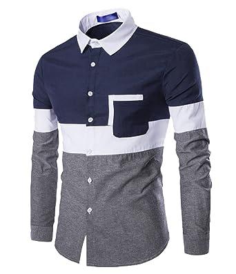6e6123f1a ISSHE Camisas Slim Fit Hombre Camisa Traje Básica Cuello Clásico Camisas de  Vestir Formal Caballero Camisas Vestidos Entalladas Casuales para Hombres  ...