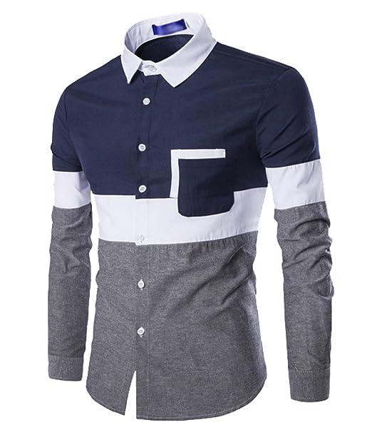 5e0bcc74d ISSHE Camisas Slim Fit Hombre Camisa Traje Básica Cuello Clásico Camisas de  Vestir Formal Caballero Camisas Vestidos Entalladas Casuales para Hombres  ...