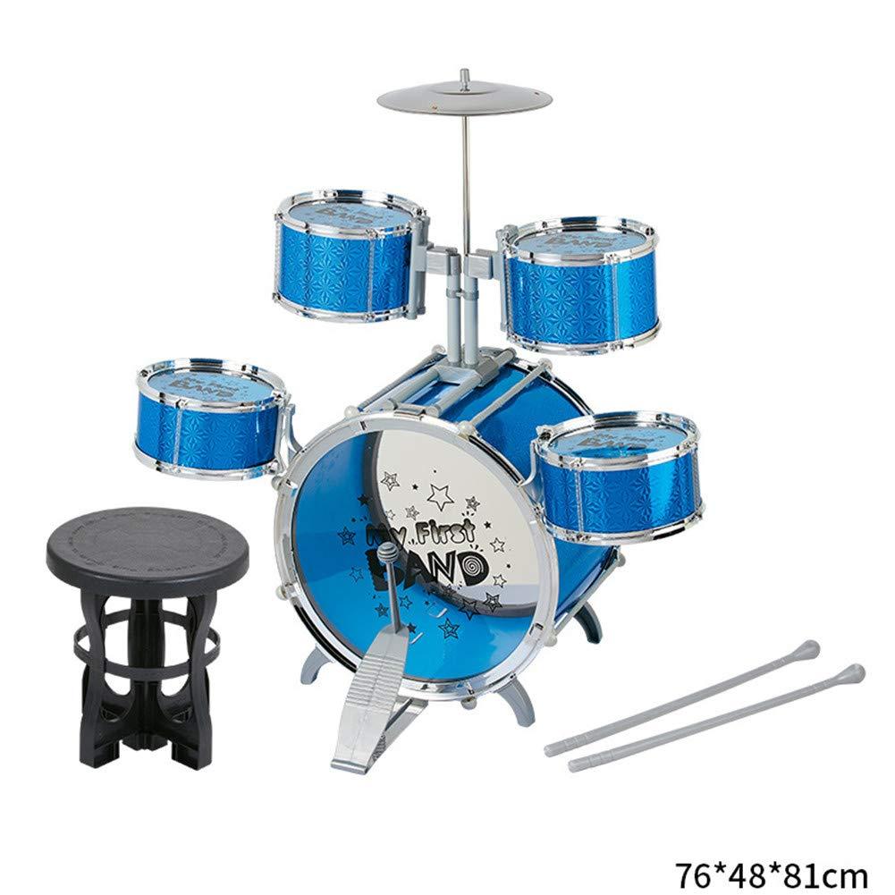 A4008E3fivedrumbleu  XWWS Enfants Desktop Drum Set - Jouet pour InstruHommest de Musique avec Petites sacuettes de Tambour de cymbale, Jouets d'apprentissage précoce pour Enfants de Percussion Rock