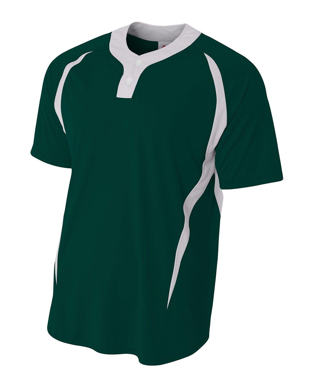 a4メンズ2つボタンカラーブロックBaseball Henleyシャツ B07DGLFY4W Large|フォレスト/ホワイト フォレスト/ホワイト Large