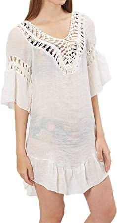 Mujer Ropa de Baño Crochet Vestido de Playa Mujeres Playa Baño Traje de baño Perspectiva Cubierta Vestido Vestido Cubre Tops Crochet Lace Pom Pom Tassel Volantes Backless Bikini Casual Outwear Camisa: Amazon.es: