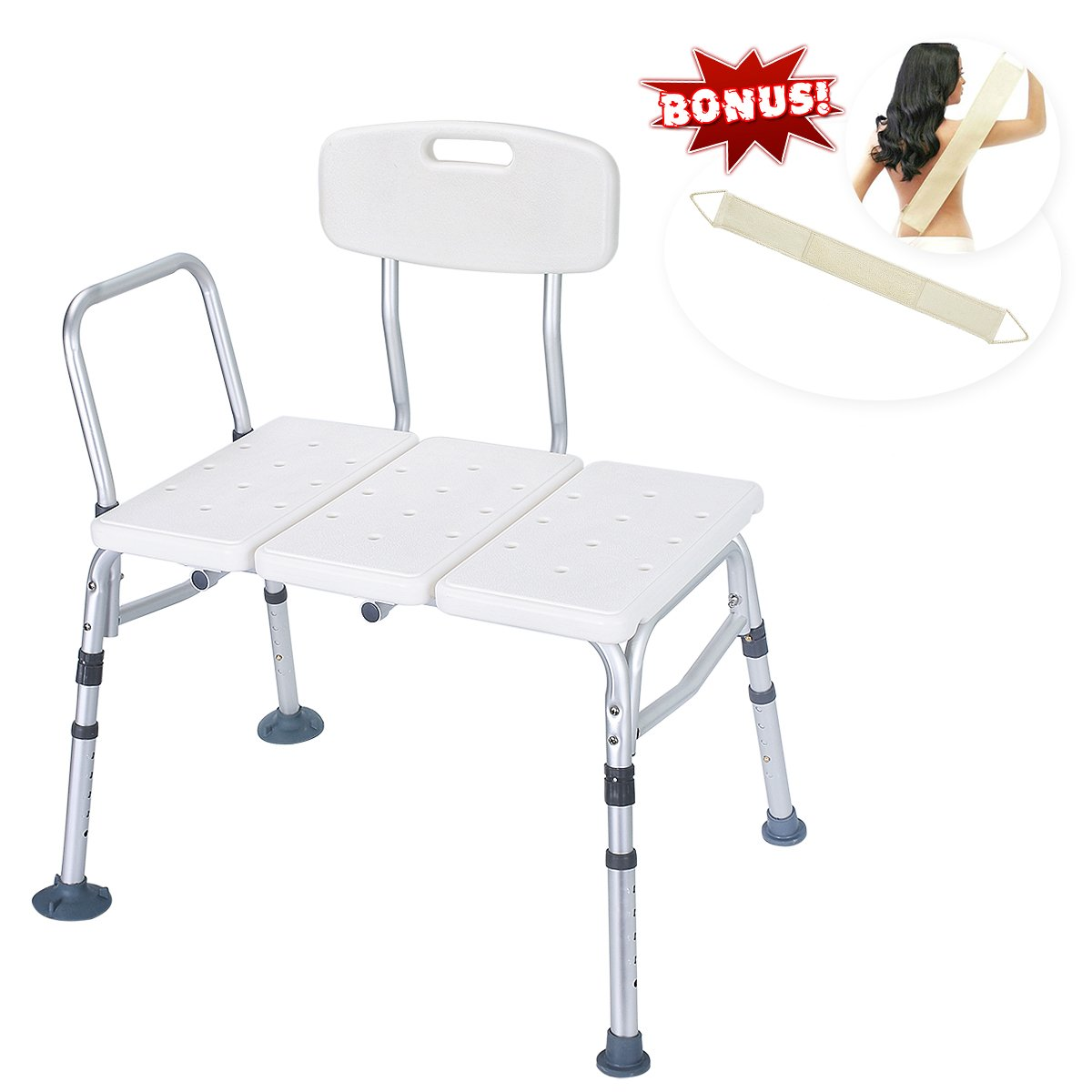Health Line Tool-Free 400 lbs Transfer Bench, Deluxe Tub Adjustable Shower Bath Chair, w/Reversible Back and Non-Slip Feet, Great for Elderly, Disabled, Seniors & Bariatric - Free Loofah Back Scrubber